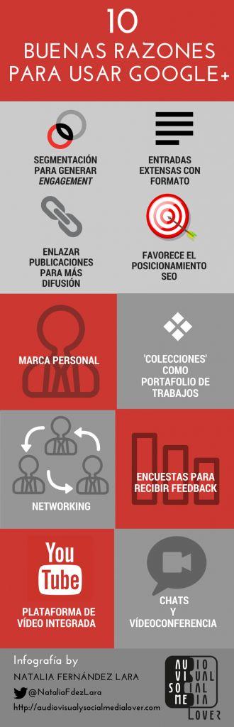 Infografía: 10 buenas razones para usar Google Plus  #GooglePlus #RedesSociales