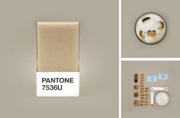 食材とパントンカラーの融合プロジェクトは他にも行われている。こちらはスウェーデンのアートディレクター、ヘドヴィグA・クシュナーが手掛けたpantone smoothiesプロジェクトの一部でで、スムージーをパントンカラーで表現したもの。すごくおいしそう。  11_e 食材:アーモンドミルク、イチジク、カンゾウの根、バニラ、カシューナッツ