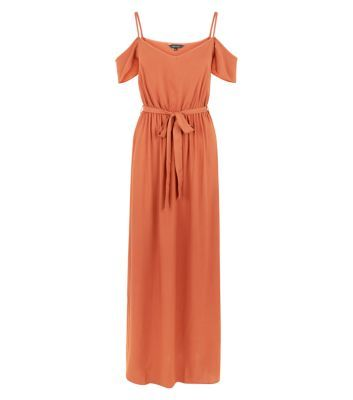 Rust Cold Shoulder Maxi Dress