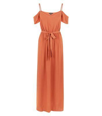 Rust Cold Shoulder Maxi Dress
