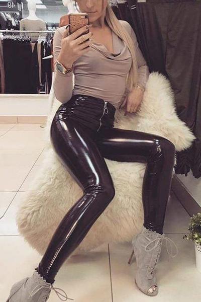 9348b7670b250e Bright PU Leather Front Zipper Straight Pants in 2019 | Lupsona ...