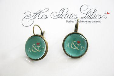 Boucles d'oreilles monogrammes cadeau mariage personnalisé