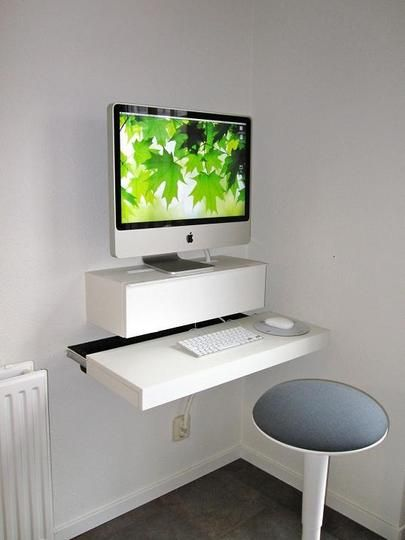 DiY Floating Standing Desk! Would make it easier for crap to not get piled on desk!