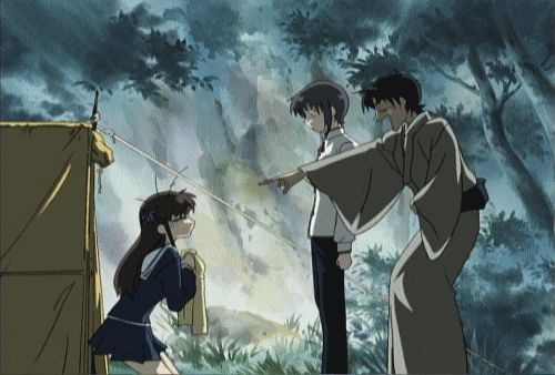 Fruits Basket gif - Tohru, Yuki and Shigure And then when they take her to their house, he's still laughing like a mad man. XD