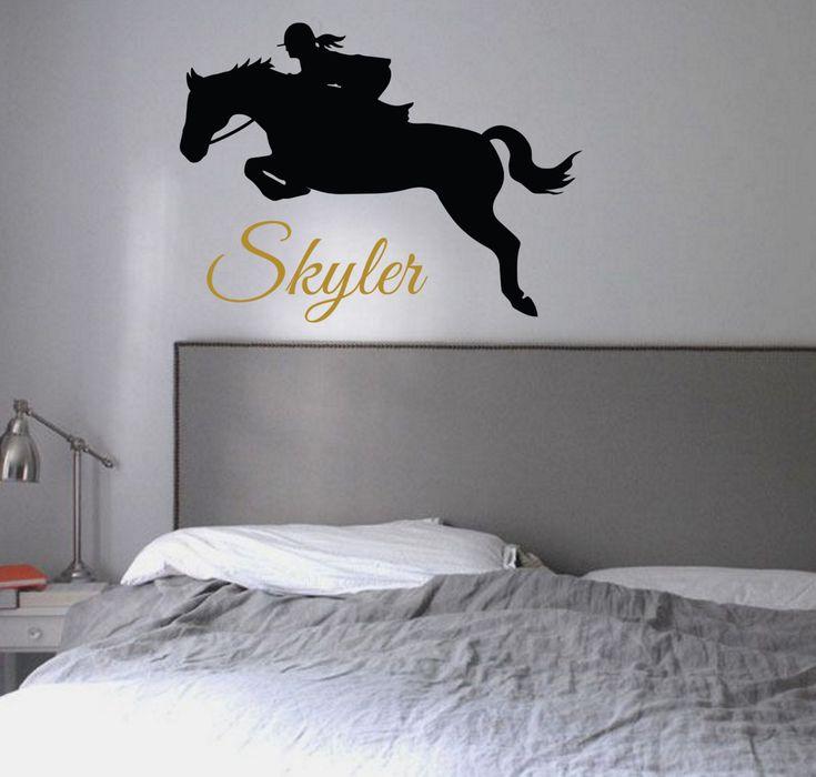 Hunter Jumper personalized - Vinyl Wall Decal Sticker I love Horses Teen Girl Bedroom Decor English Dressage Equestrian Customized Wall Art