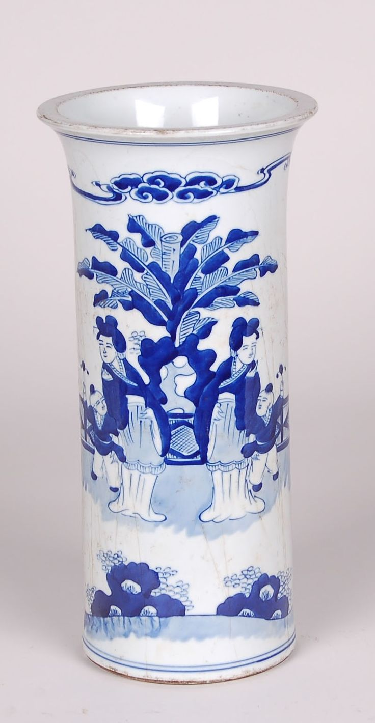Blue and White Lady Design Beaker Lamp from The Well Appointed House