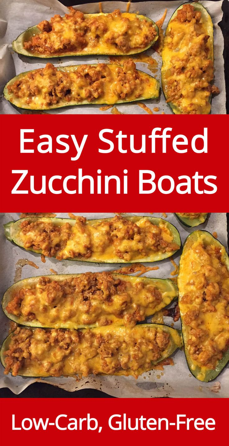 Baked Stuffed Zucchini Boats with ground meat and cheese - low-carb and gluten-free!  This is a one-dish meal - love it!