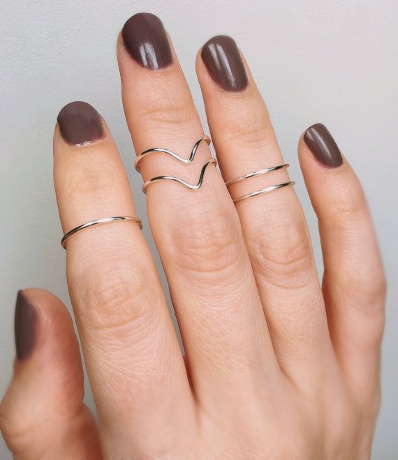 5 Knuckle Chevron Silver Rings Midi rings Knuckle rings set