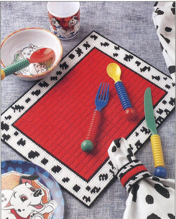 Dalmatian Place Set Plastic Canvas Pattern by needlecraftsupershop, $3.50