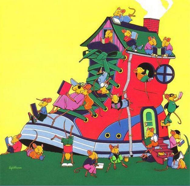 Ratos de biblioteca ou biblioteca de ratos (ilustración de Ron Lightburn)
