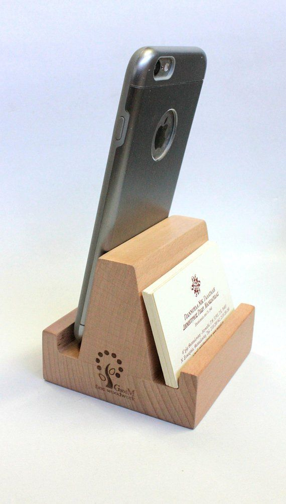 Business Card Holder Cell Phone Stand Wood