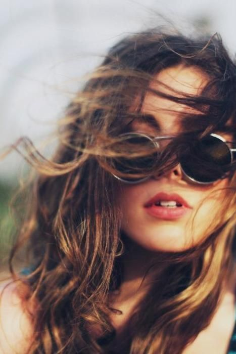 \\\Shades, Fashion, Hair Colors, Messy Hair, Hippie, Style, Beautiful, Boho, Round Sunglasses