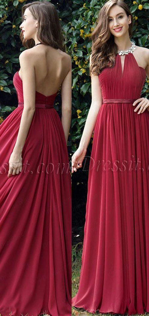 213f775b8d8b Burgundy Pleated Halter Formal Evening Dress (00170317) em 2019 ...