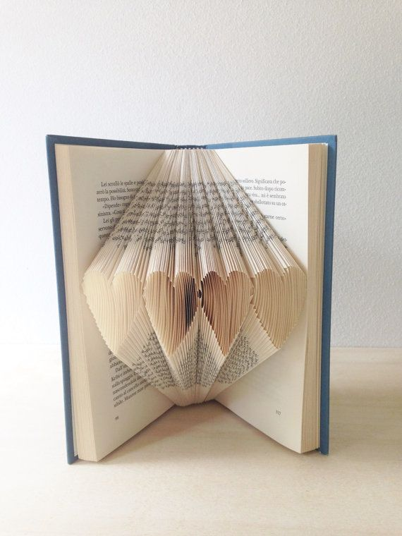 Folded Book Art - Hearts - Concentrated formula of love - Wedding Gift - Book Lover - Sweet Origami