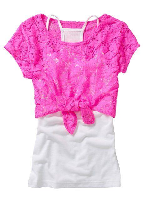Кружевная футболка + топ (2 изд.), bpc bonprix collection, ярко-розовый неон/белый