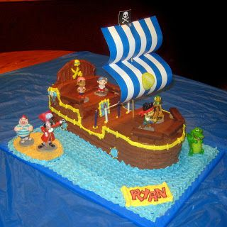 DIY Bucky the Pirate Ship Cake: Jake and the Neverland Pirates Birthday Party. Made from 2 9x13 cakes with instructions on how to build and decorate!