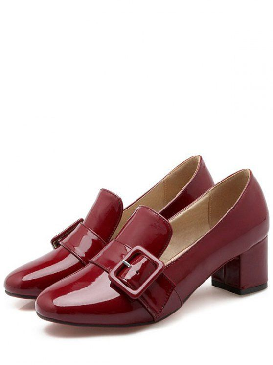 Patent Leather Buckle Solid Color Pumps - WINE RED 37