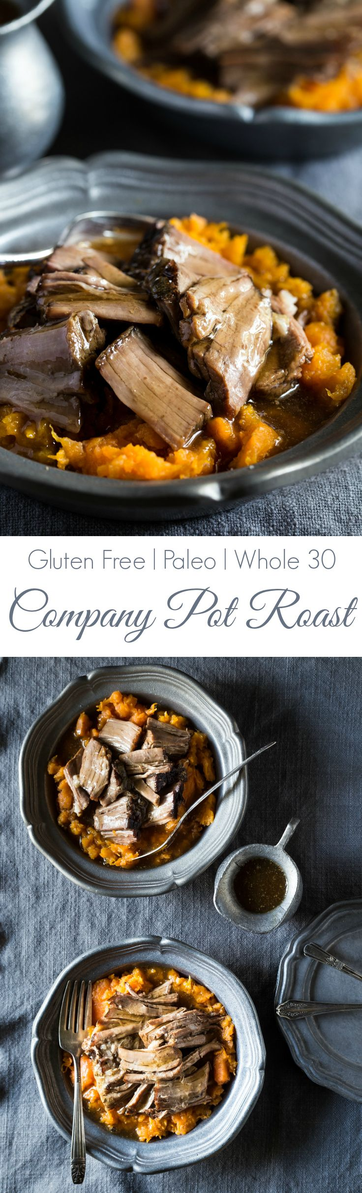 This Company Pot Roast is the one of the BEST I've ever tasted! It's so easy to make and the slow cooker does all the work for you! | gluten free | paleo | whole 30 |sub out cornstarch