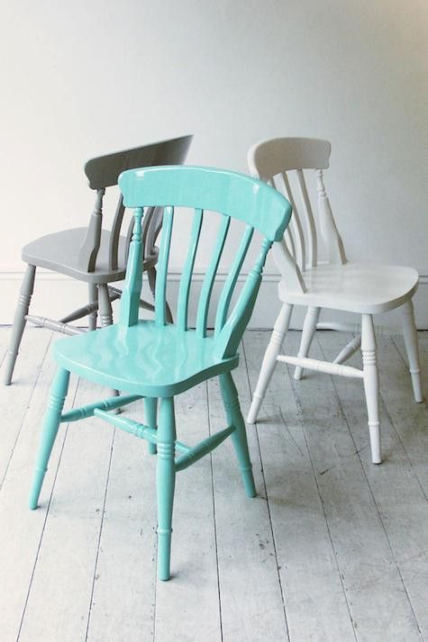 Painted chairs - I have 6 chairs that look like these, in boring pine wood color, and love the idea to color them up!