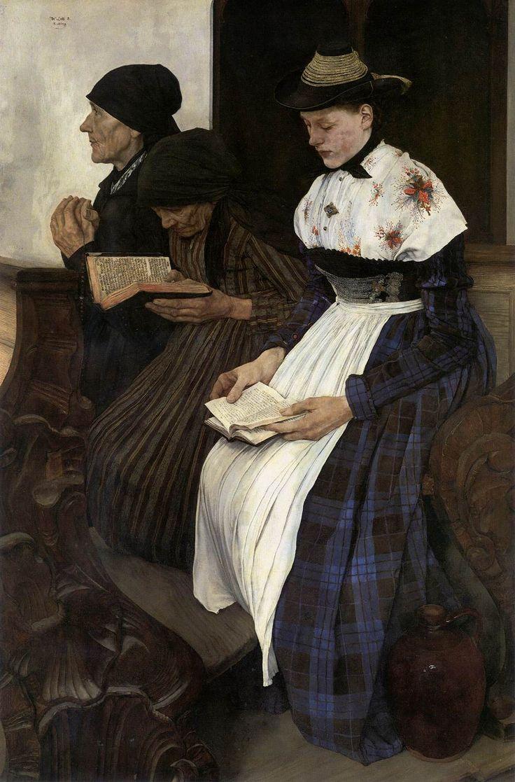 LEIBL, Wilhelm [German Realist Painter, 1844-1900] Three Women in the Church1878-82