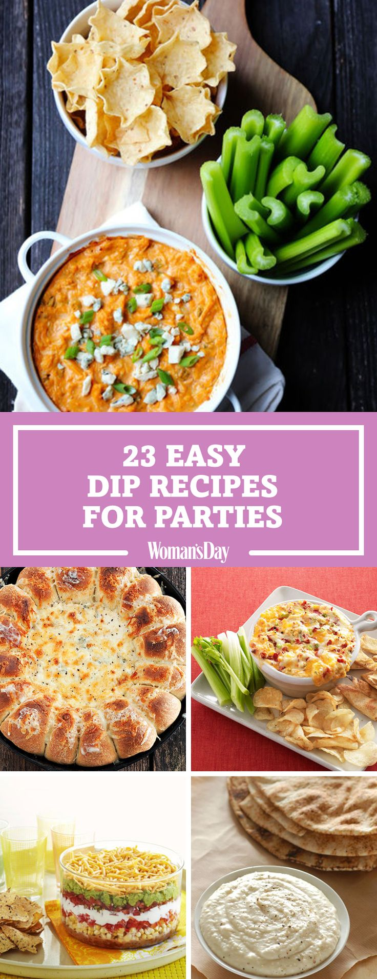 These dip recipes will be a hit at your next fall tailgate party or Thanksgiving dinner. Guests will love the skinny buffalo chicken dip and the warm skillet bread and artichoke spinach dip.