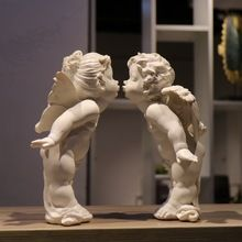 handmade resin kiss angel wedding giftd rough girl and boy angel figurines ornaments home decorations