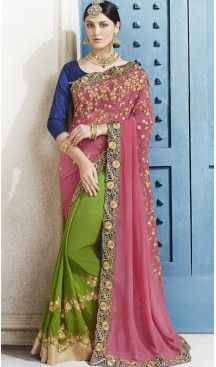 Chrome Green Color Georgette Embroidered Party Wear Sarees  with Blouse #heenastyle , #saree , #sari , #wedding , #boutique , #blouse , #fashion , #style , #designer , #sarees , #saris , @heenastyle
