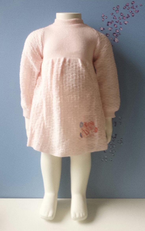 1970's vintage jurk zalm roze gebreid mint nog helemaal nieuw winter lange mouw toddler  reborn babyjurkje 12 maanden oud nederlands door Smufje op Etsy