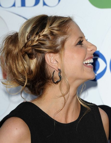 Messy Updo Lookbook: Sarah Michelle Gellar wearing Messy Updo (6 of 18). Sarah Michelle Gellar paired  her black frock with smoky eyes and a messy braided updo.