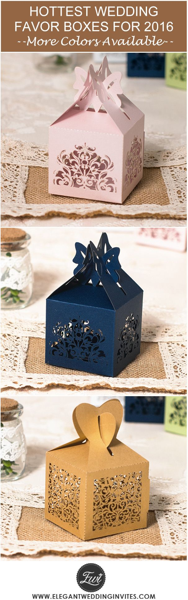 "2016 trending elegant laser cut wedding favor boxes with popular colors @elegantwinvites --Use CODE ""PRO"" to Enjoy 15% OFF"