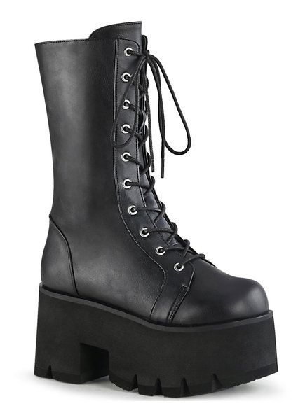 56bc80defd9a ASHES-105 black lace-up platform boots