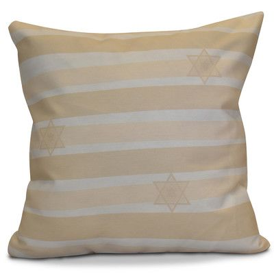 "The Holiday Aisle Hanukkah 2016 Decorative Holiday Striped Outdoor Throw Pillow Size: 16"" H x 16"" W x 2"" D, Color: Cream / Off White"