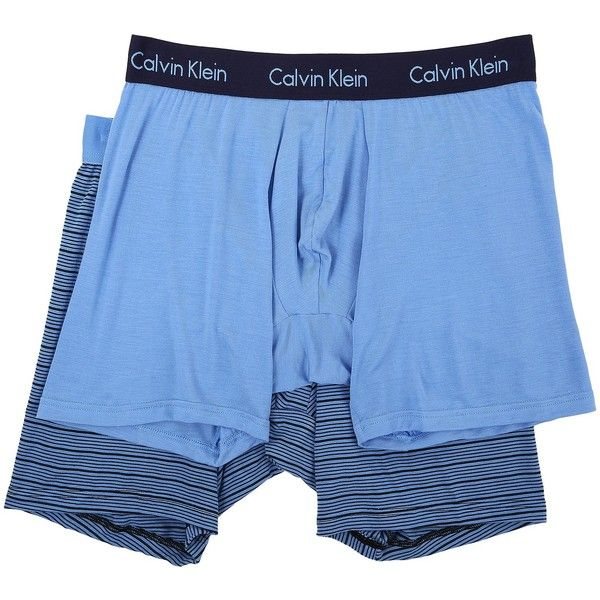 Calvin Klein Underwear 2-Pack Boxer Brief (Optic Solid/Optic Stripe)... ($36) ❤ liked on Polyvore featuring men's fashion, men's clothing, men's underwear, blue, mens boxers, mens underwear boxers, mens underwear boxer briefs, mens short leg boxer briefs and mens boxer briefs