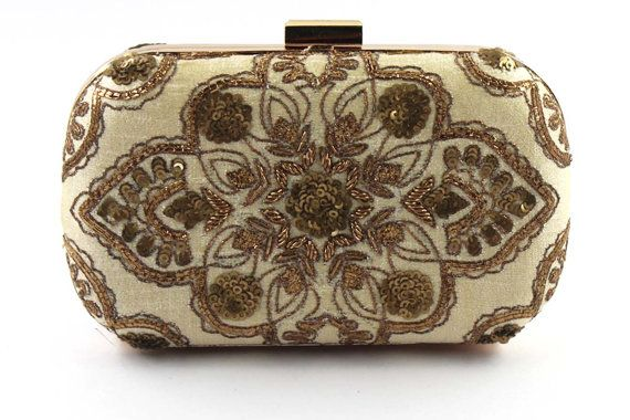 Handmade embroidery | Traditional Indian Zardosi work | Abstract Henna motif | Gold Silk box Clutch Bag