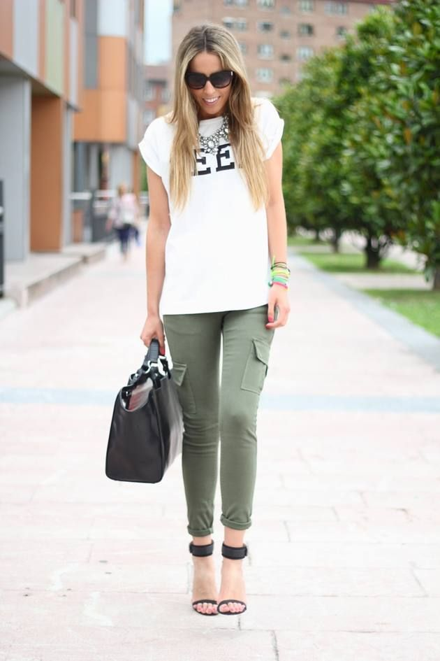 Military green pants.