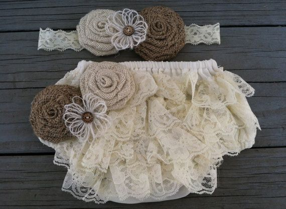 The Ivory Lace Shabby Chic/Rustic Burlap Flower Diaper Cover/Bloomer Set/Headband on Etsy, $22.50
