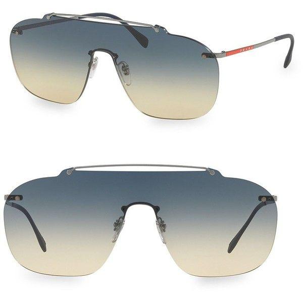 Prada Sport Statement Silver & Blue Aviators (1.030 BRL) ❤ liked on Polyvore featuring men's fashion, men's accessories, men's eyewear, men's sunglasses, mens sunglasses, mens blue aviator sunglasses, mens aviator sunglasses, mens aviators and mens gradient sunglasses