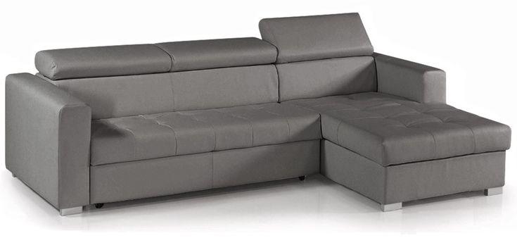 Canapé d'angle convertible avec têtières Cuir gris Iste