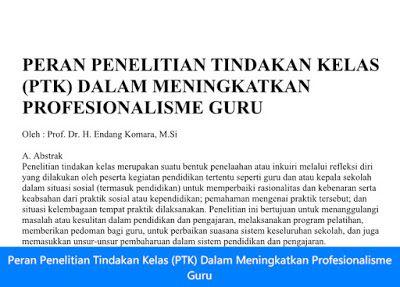 [File Pendidikan] Peran Penelitian Tindakan Kelas (PTK) Dalam Meningkatkan Profesionalisme Guru