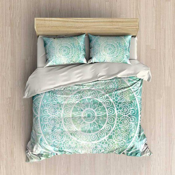 This Is A Bedding Set Duvet Cover Or Comforter In Tones Of Mint Green Aqua Blue And Wh Green Duvet Covers Blue Bedding Sets Luxury Bedding Master Bedroom