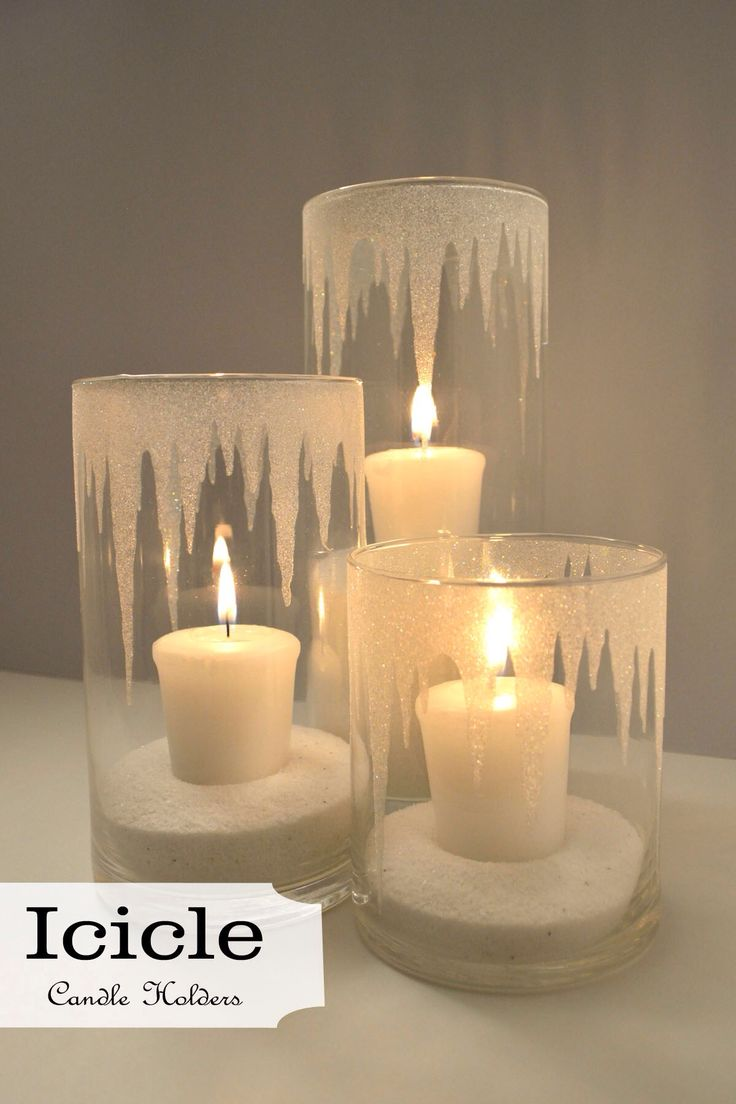 Christmas candles wonderful christmas candle decoration ideas - Glitter Icicle Candle Holders Pretty For Winter And Christmas