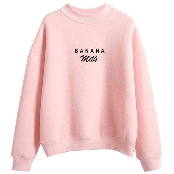 Womens Pastel Sweater Kawaii BANANA Milk Print Tumblr Letters Cute T... ❤  liked