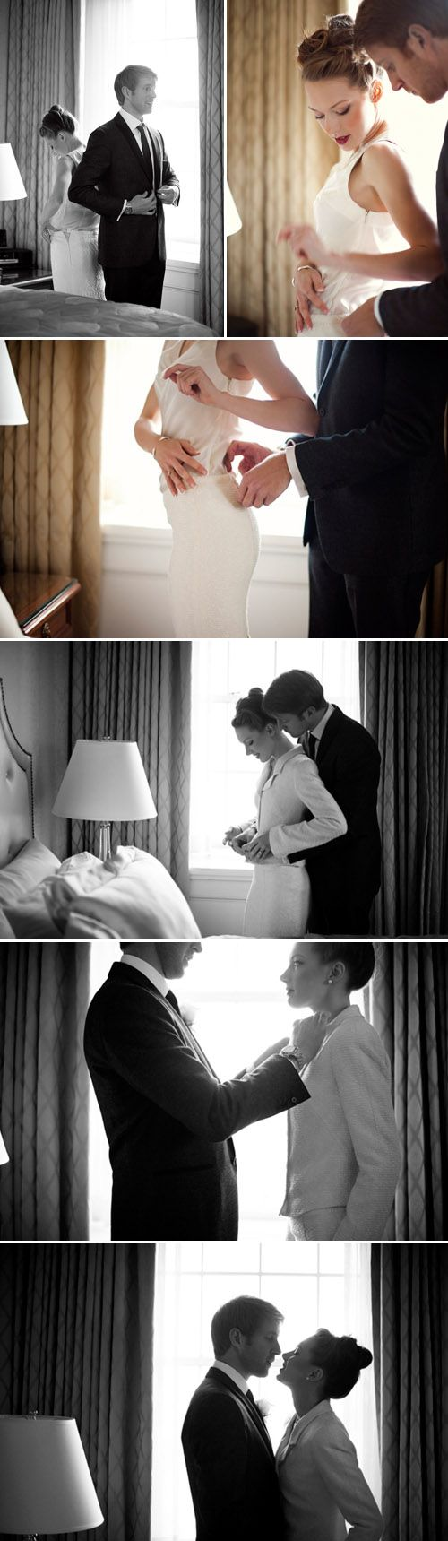 Glamorous couple gets ready for their NYC wedding, photography by Justin & Mary