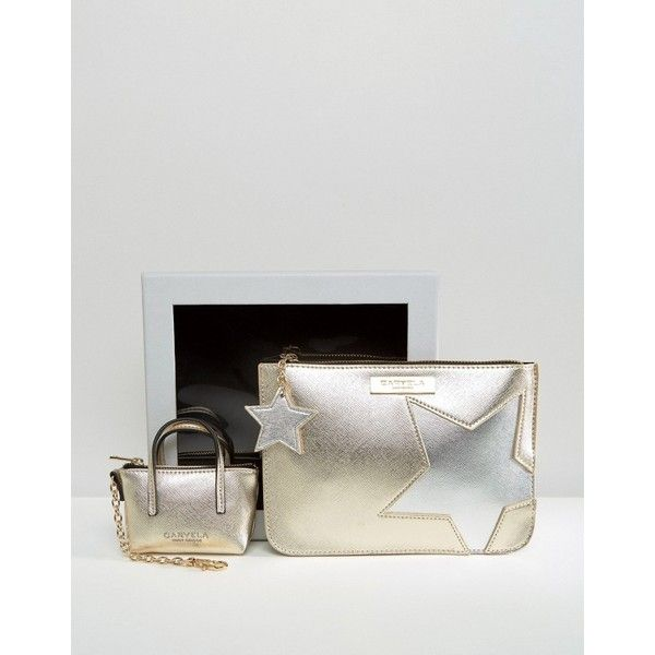 Carvela Metallic Star Pouch And Mini Bag Key Ring In Gift Box ($36) ❤ liked on Polyvore featuring bags, handbags, shoulder bags, gold, star key ring, miniature purse, embossed handbags, shoulder pouch bag and pouch purse