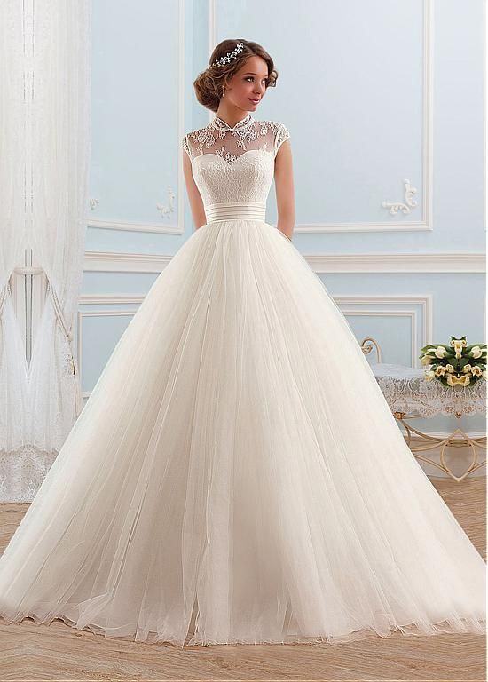 Find More Wedding Dresses Information about 2016 New Cap Sleeve Wedding Dresses Tulle Lace A Line Bridal Gown High Neck Long Wedding Dress Formal Vestido De Noiva,High Quality dresses gowns uk,China dress ed Suppliers, Cheap dresse from Galaxy Wedding Dress Co., Ltd. on Aliexpress.com