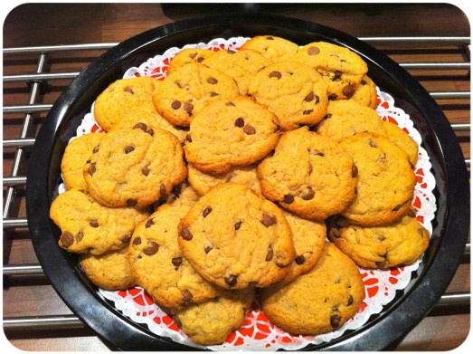 Peanut butter–Chocolate chip cookies.