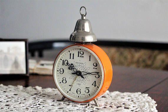 Large Retro Alarm Clock  Orange Russian Clock  USSR Vintage