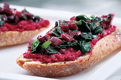 Garden beet and beet green crostini.Olive Oil, Fun Recipe, Roasted Beets, Beets Recipe, Fall Recipe, Wake Forests, Beets Crostini, Delicious Veggies, Appetizers Recipe