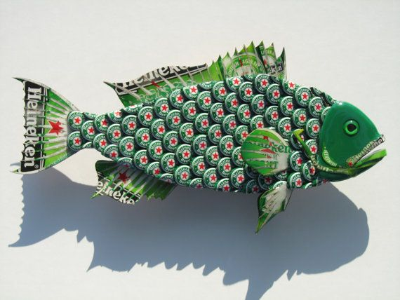 I can make to order a Heineken Grouper (or any soda/beer Grouper) for you. This Grouper is made with beer caps and boxes. I also used paint, wood, and