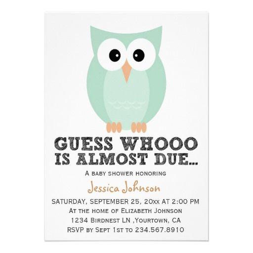 cute simple owl boy baby shower invitation